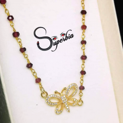Garnet Necklace with Butterfly