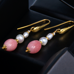 Earrings with Opal & Pearls