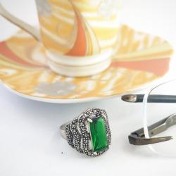 Anello Zircone Smeraldo