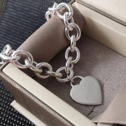 Bracciale maglia ovale, con cuore